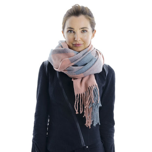Super Soft Plaid Scarf With Fringe