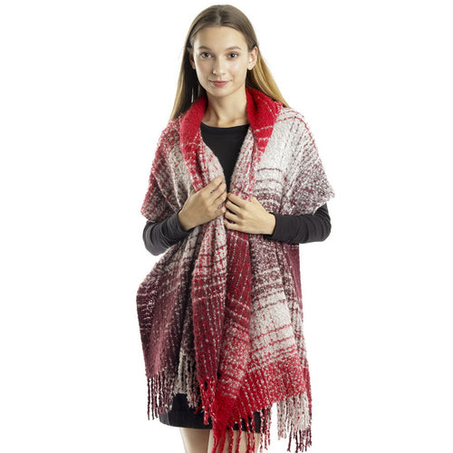 Checked Tartan Tassel Fringe Wide Oblong Scarf