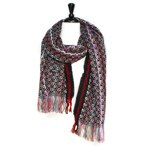 Multicolor Patterned Weave Scarf With Thread Fringe