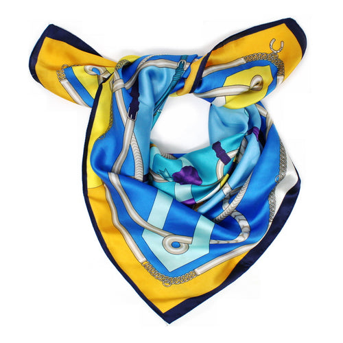 Multicolor Belt Print Square Scarf