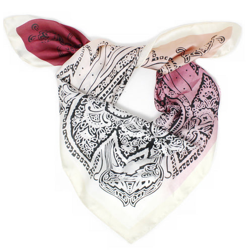 Lace Leaf Print Square Scarf