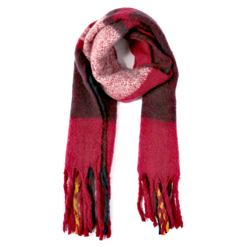 Plaid Check Oblong Fringe Scarf