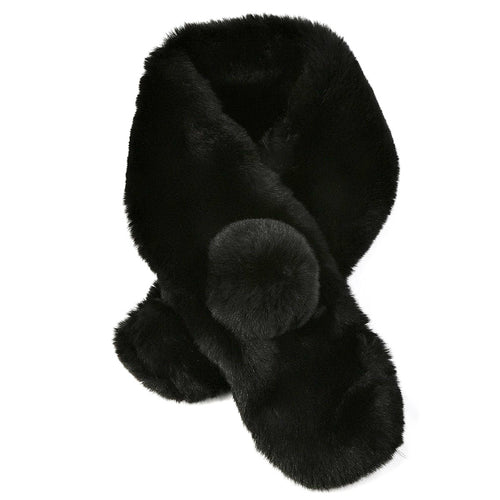 Flirty Pom Pom Faux Fur Collar Scarf