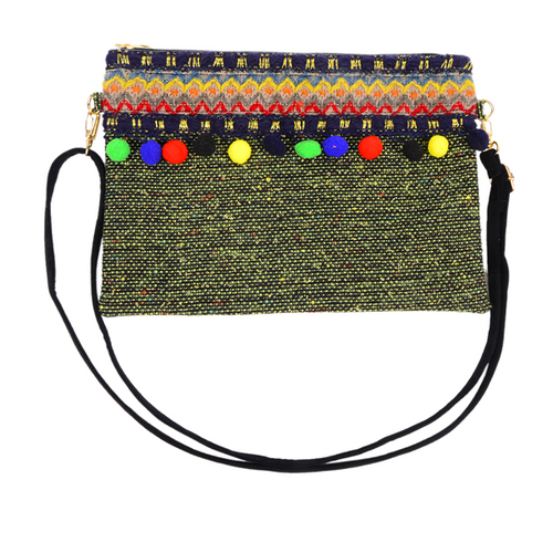Embroidery Multi Colored Pom Pom Fringe Clutch Bag