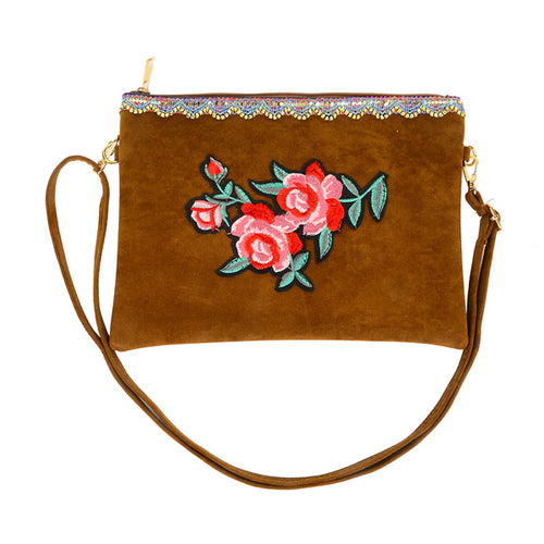 Rose Embroidery Clutch Bag