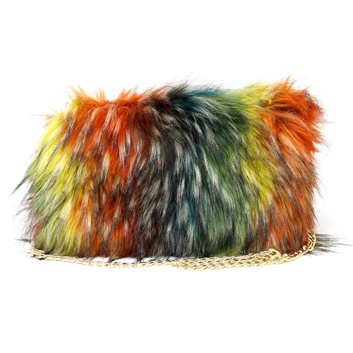 Multi Colored Faux Fur Clutch Bag