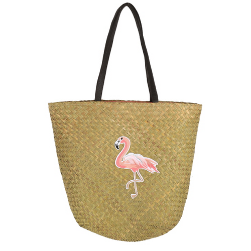 Pink Flamingo Patch Straw Shoulder Bag