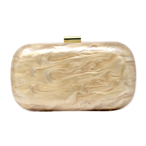 Marble Textured Acetate Hard Case Clutch Bag