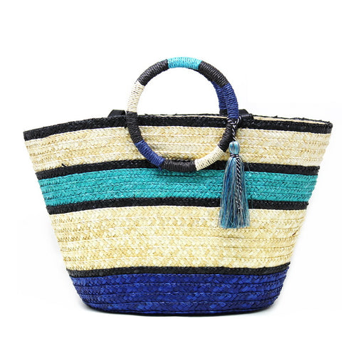 Multi Color Striped Straw Handbag With Decorative Tassel