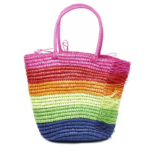 Rainbow Burst Woven Straw Bag