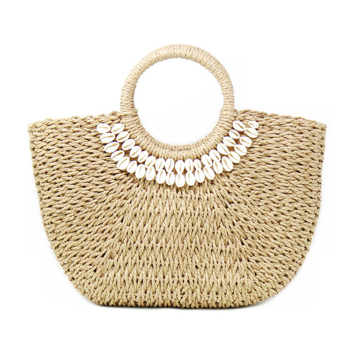 Shell Embellished Woven Straw Bag