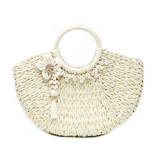 Shell Embellished Woven Straw Bag With Decorative Flower And Tassel