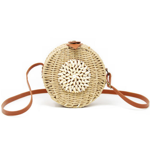 Shell Woven Straw Round Bag