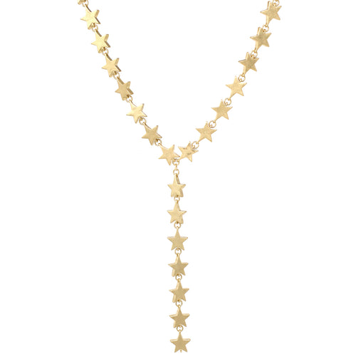 Star Metal Bead Linked Short Y- Necklace