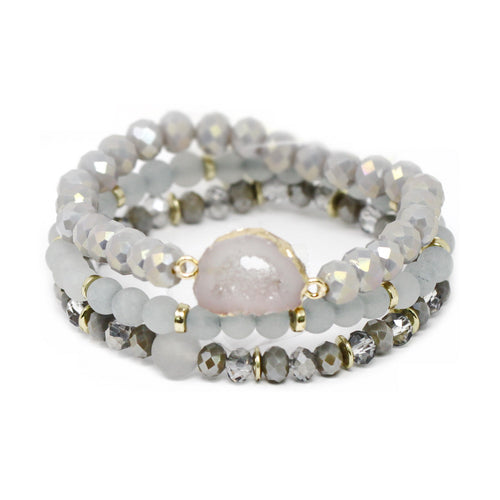 Raw Stone Semi Precious Stone And Glass Beaded Stretch Bracelet Set