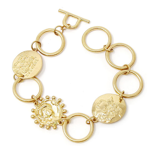 Coin Charm Linked Toggle Bracelet
