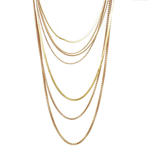 Multi Strand Layered Chain Necklace