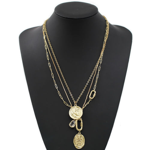 Coin Pendant Layered Chain Necklace