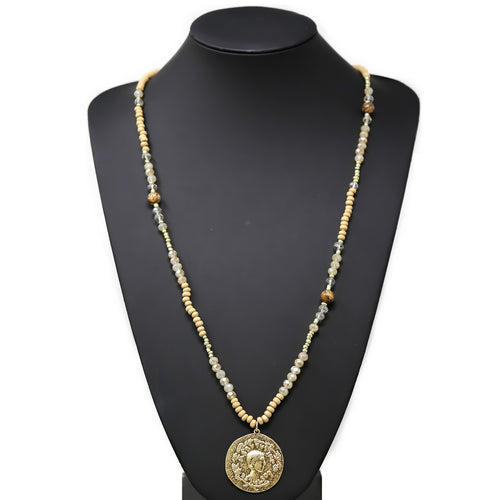 Textured Metal Coin Pendant Wood And Glass Beaded Long Necklace