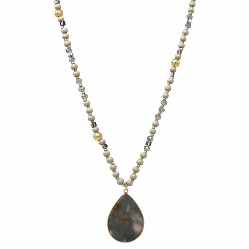Semi Precious Stone Teardrop Pendant Glass And Wood Beaded Long Necklace