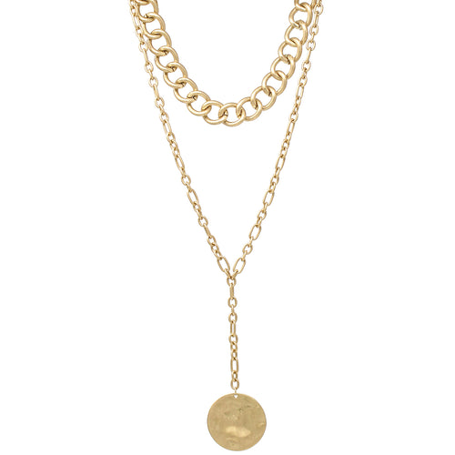 Chunky Chain With Hammered Disc Pendant Layered Necklace
