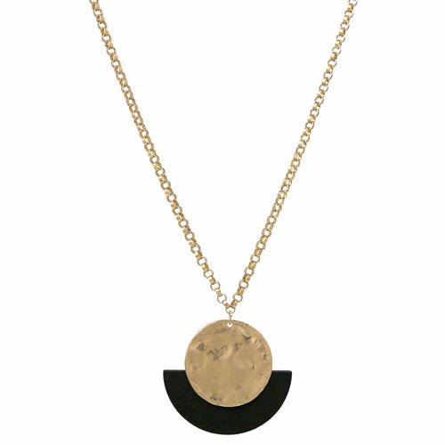 Hammered Disc With Wooden Half Disc Pendant Long Necklace