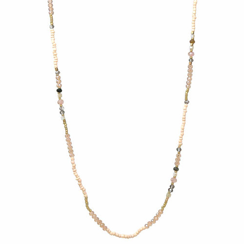 Glass And Seed Beaded Long Necklace