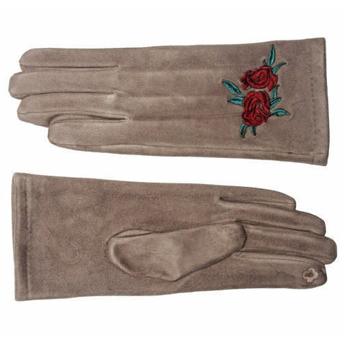 Magic Touch Embrodry Faux Suede Gloves