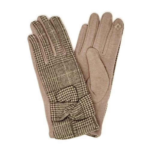 Plaid Wool Blend Gloves With Decorative Knot