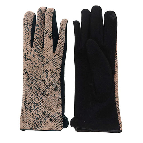 Snake Print Touch Screen Gloves
