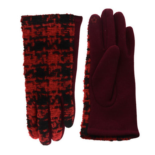 Plaid Touch Screen Gloves