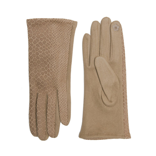 Snake Skin Print Faux Suede Leather Gloves