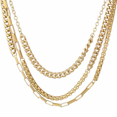 Triple Layer Chunky Chain Short Necklace