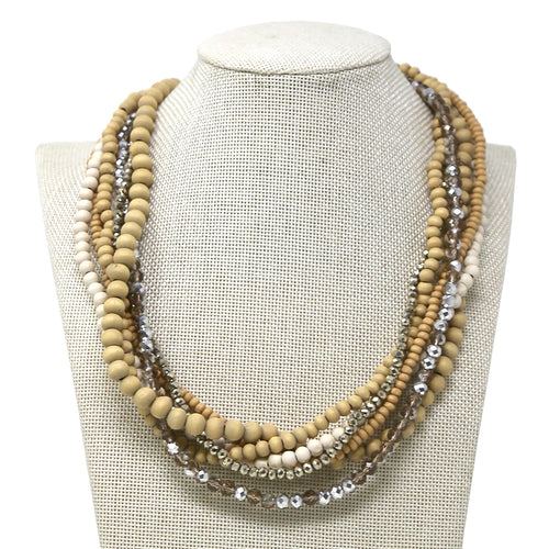 Wood And Glass Beaded Multi Strand Short Necklace