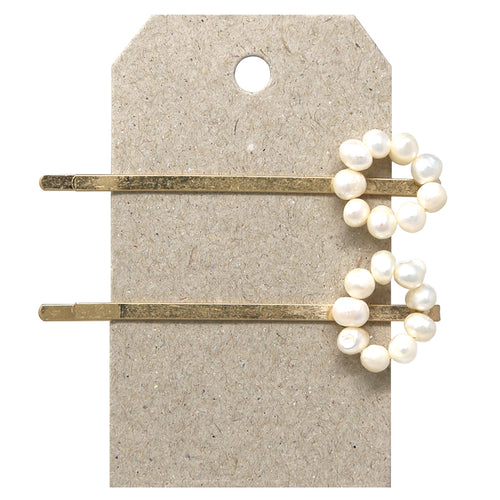 Freshwater Pearl Hoop Topped Bobby Pin Set