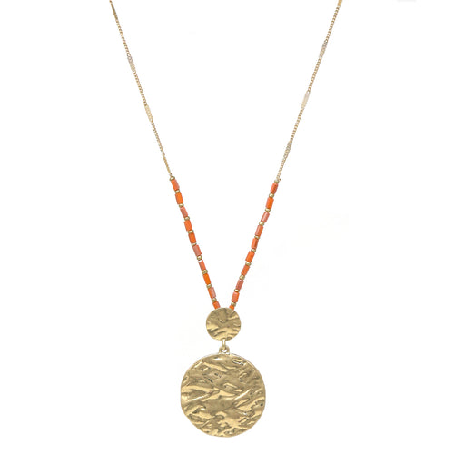 Hammered Metal Double Disc Pendant Long Necklace
