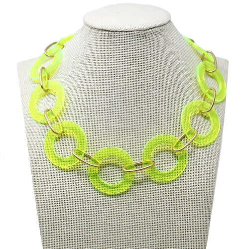 Neon Acetate Hoop Short Linked Necklace