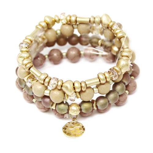 Natural Stone / Glass / Wood / Metal Beaded Bracelet Set