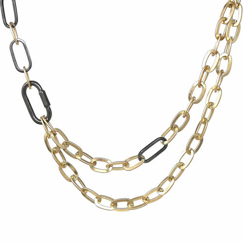 Two Tone Linked Chain Short Necklace