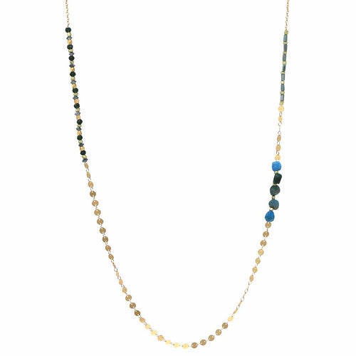 Natural Stone / Glass / Metal Disc Beaded Long Necklace