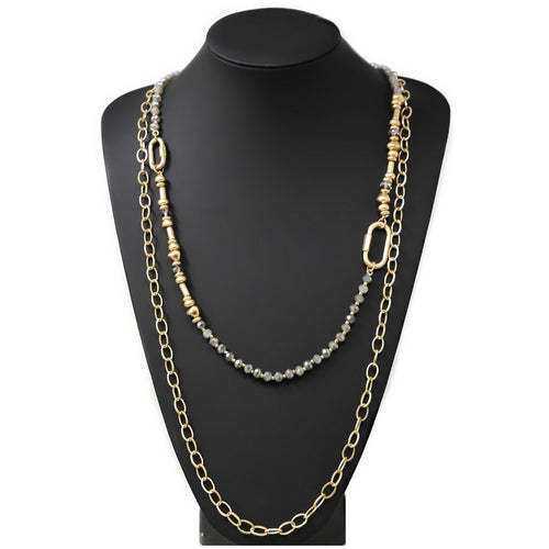 Glass Bead And Linked Chain Layered Long Necklace