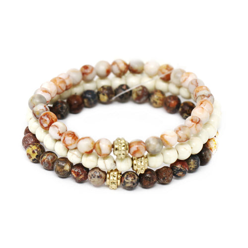Semi Precious Stone Beaded Stretch Bracelet Set