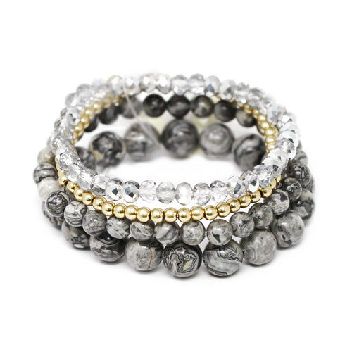 Semi Precious Stone / Metal / Glass Beaded Stretch Bracelet Set