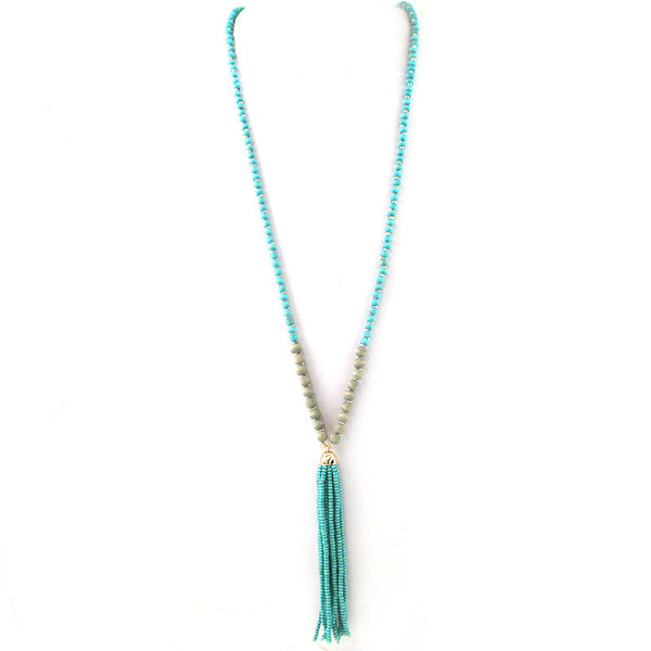 Wooden Beads Tassel Long Necklace