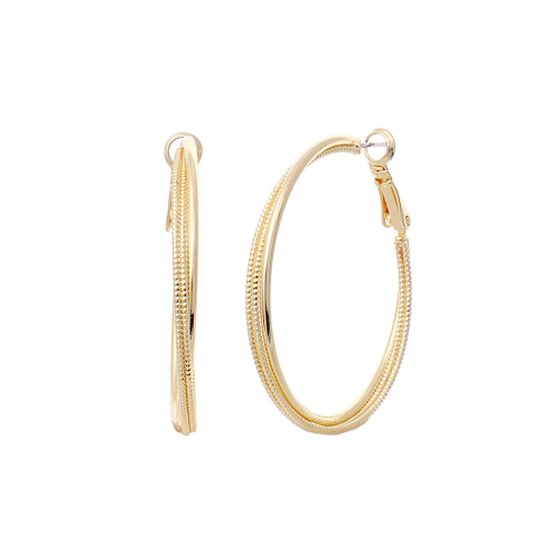 1.5 Inch Brass Line Hoop Earrings