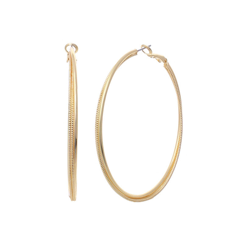 2.25 Inch Brass Line Hoop Earrings