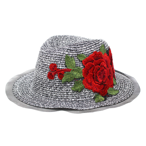 Rose Applique Mesh Trimmed Straw Panama Hat