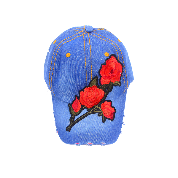 Embroidered Rose Patched Denim Baseball Cap
