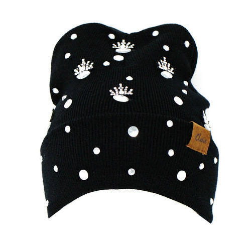 CLOIE Rhinestone Mini Crown Embellished Beanie