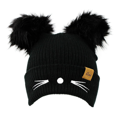 Embroidered Cat Whiskers Double Pom Beanie Hat
